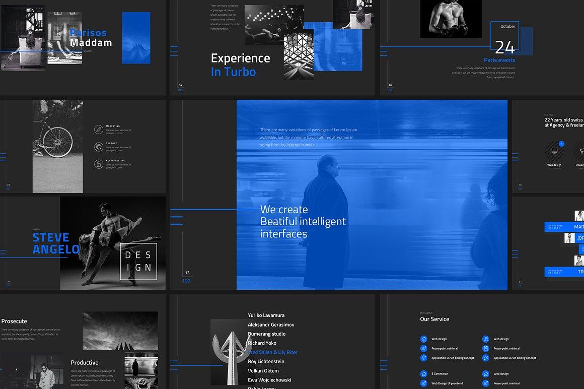 darking-minimal powerpoint template | vizualus, Modern powerpoint