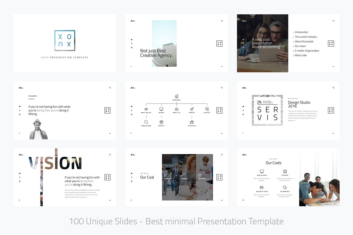 Xoxo minimal powerpoint template vizualus for Minimalist powerpoint template free