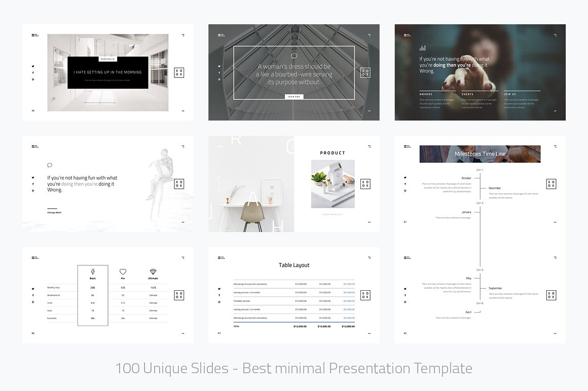 xoxo-minimal powerpoint template | vizualus, Minimal Presentation Template, Presentation templates