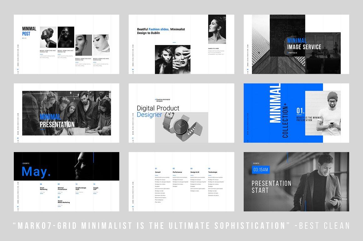 Grids Minimal Keynote Template Vizualus